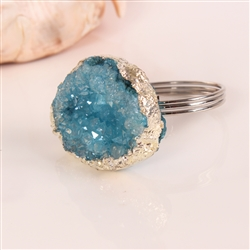 Blue Crystal Geode Napkin Ring, Decorative Table Accessories