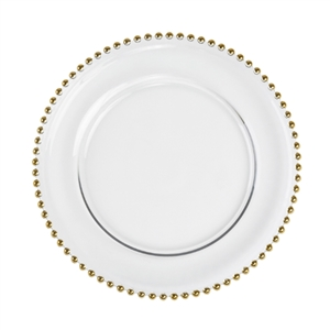 13-Inch Silver or Gold Beaded Charger Plate, Decorative Table accessories, Beaded Clear charger plate, charger plates, elegant charger plates, discount table settings