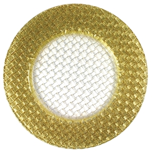 Glass Braid Gold Glitter Charger Plate, Decorative Table Accessories