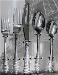 Holister Paris Collection - Hammered Design 20 Piece Flatware, silverware. stainless steel cutlery
