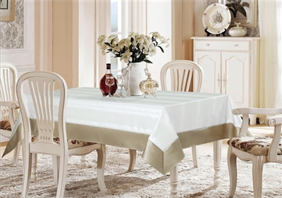 Avalon White & Platinum Faux Leather Tablecloth
