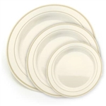 Ivory and Gold China Like Plastic Plates 120 Count, high end disposable dishware, discount luxury plastic party plates, heavy weight plastic designer plates for weddings or catered events