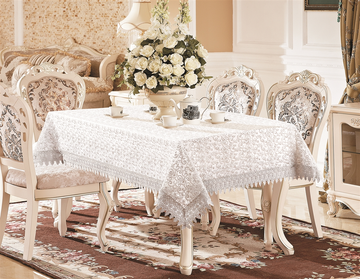 H250 Luxury Lace Tablecloth In White Gold Or Silver