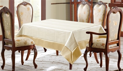Ivory & Gold Faux Leather Tablecloth
