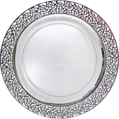 Inspiration High End Plastic Plates Clear/Silver - 10 Count - Choose Plate Size