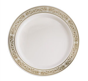 Royalty Gold/Ivory Disposable Plastic China Plate