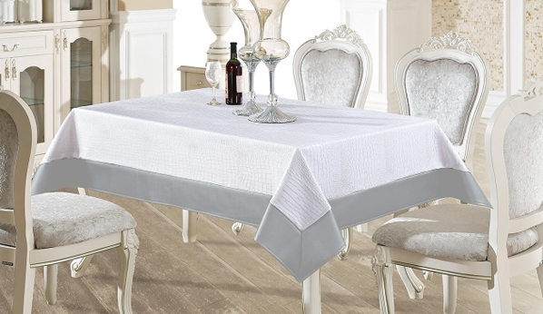 White & Silver Faux Leather Tablecloth