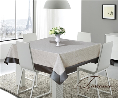 Torrance Gray & Silver Faux Leather Tablecloth, sandy gray beige and silver faux leather classy feel tablecloth