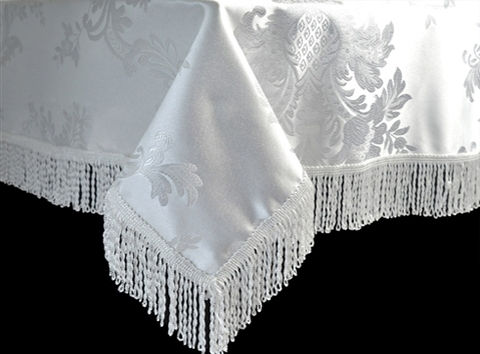 Gold or White Majestic Damask Tablecloth by Violet Table Linen, vintage damask table linen