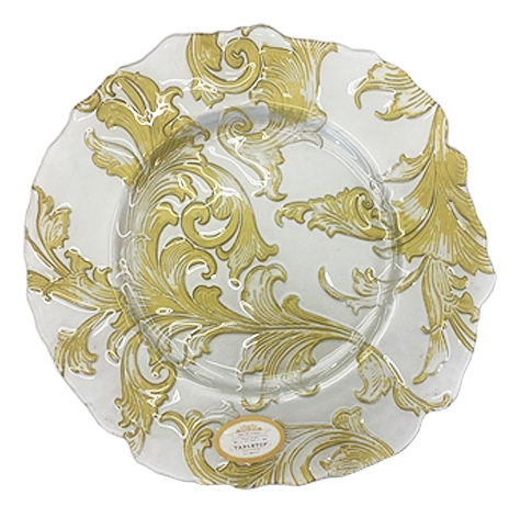 Clear Floral Charger with Gold Design, Decorative Tableware Accessories