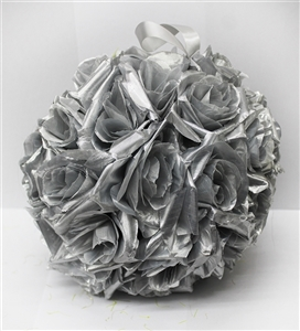 Silver Rose Ball Hanging Decoration