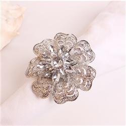 Silver Zinnia Flower with Crystals Napkin Ring, Decorative Table Accessories