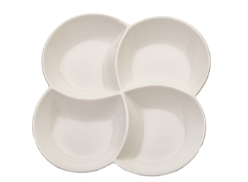White 4 Section Ceramic Dish