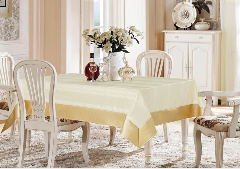 Avalon Ivory & Gold Faux Leather Tablecloth, Vinyl feel Ivory and Gold Tablecloth that is easy to clean