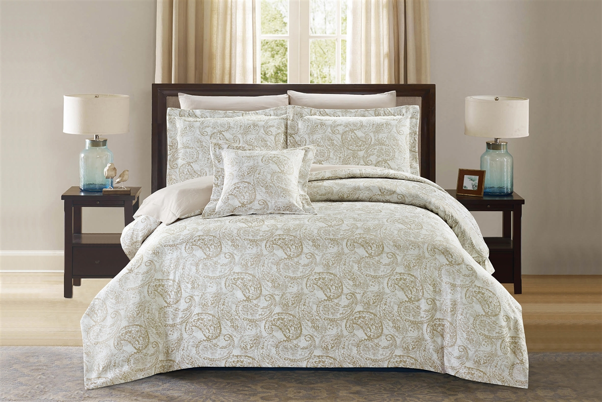 Crawford Luxury 8pc Taupe Bedding Set - Discount Bed Linens