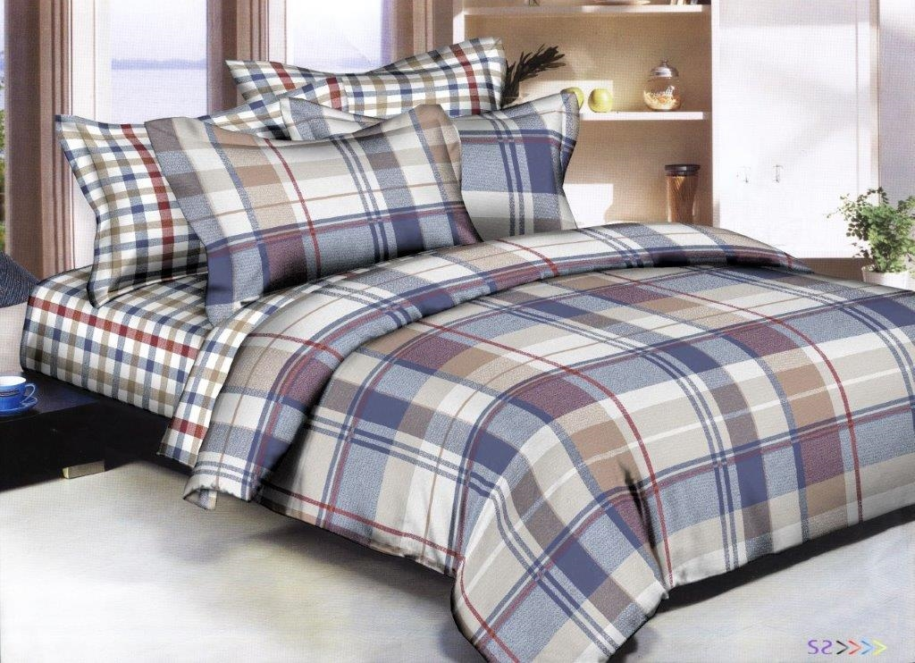 Checked Blue  8PC Twin Bedding Set