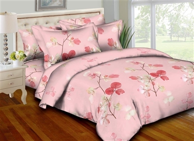 Pink Leaflets 8PC Bedding Set