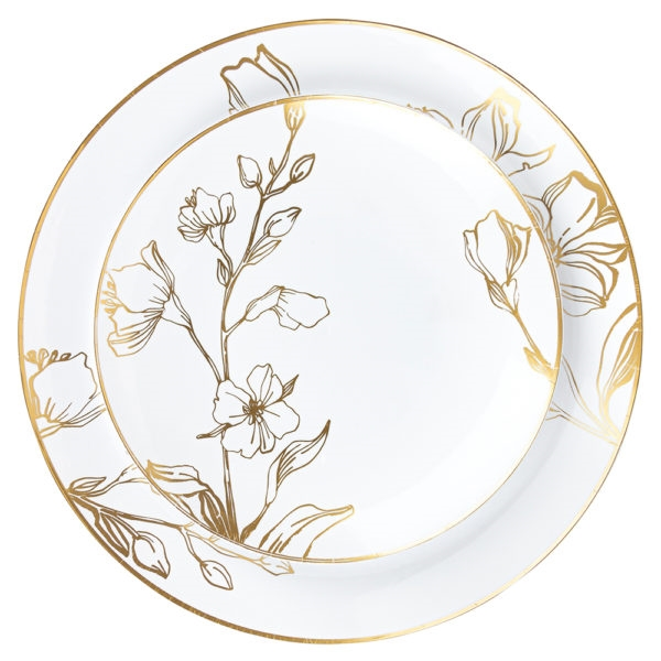 Antique Floral White and Gold Collection