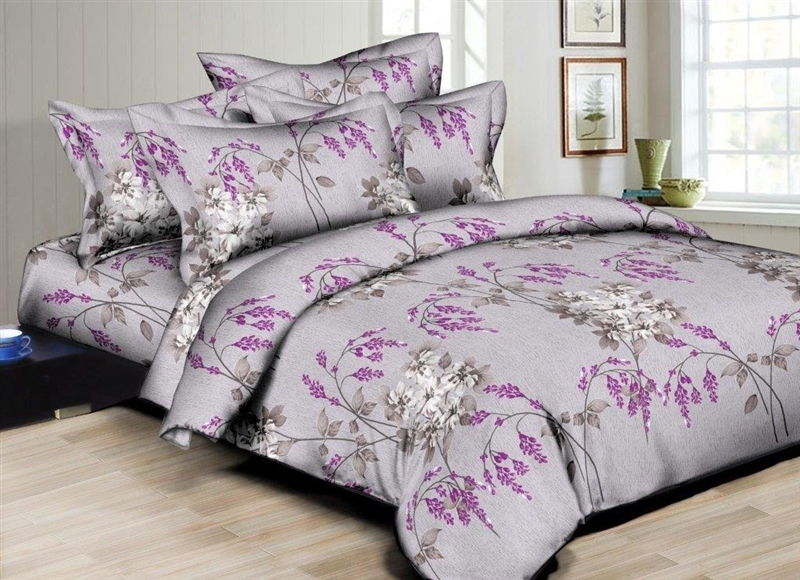 Better Bed Collection: Purple Plumes 8PC Twin Bedding Set