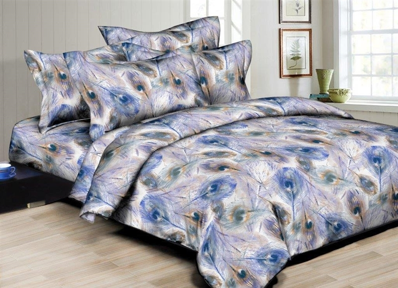 Peacock Comforter Set: Better Bed Collection: Peacock Feathers 8PC Twin Bedding Set