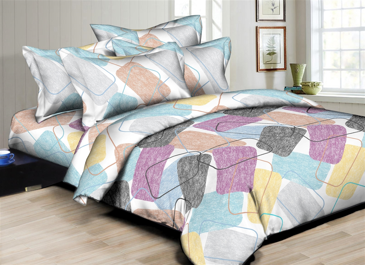 Better Bed Collection: Rectangular Hues 8PC Twin Bedding Set