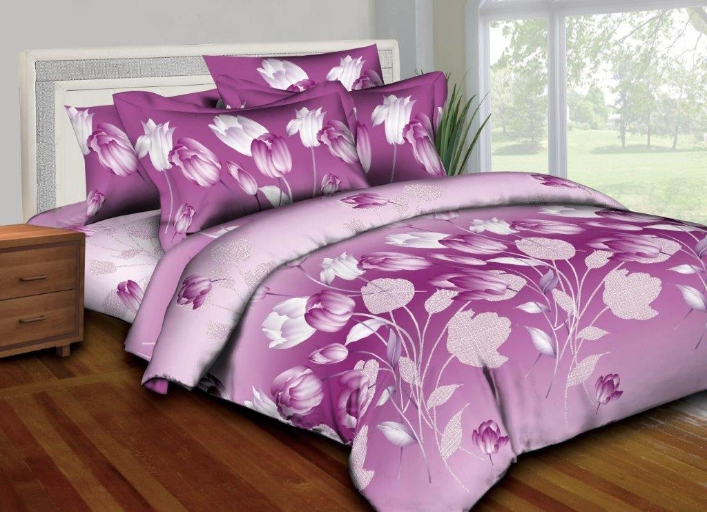 Better Bed Collection: Magenta Flowers 8PC Twin Bedding Set