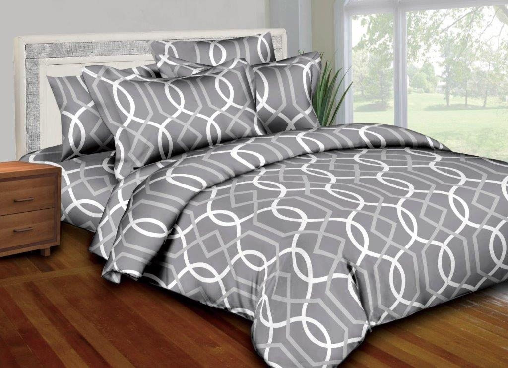 Better Bed Collection: Silver Rings 8PC Twin Bedding Set