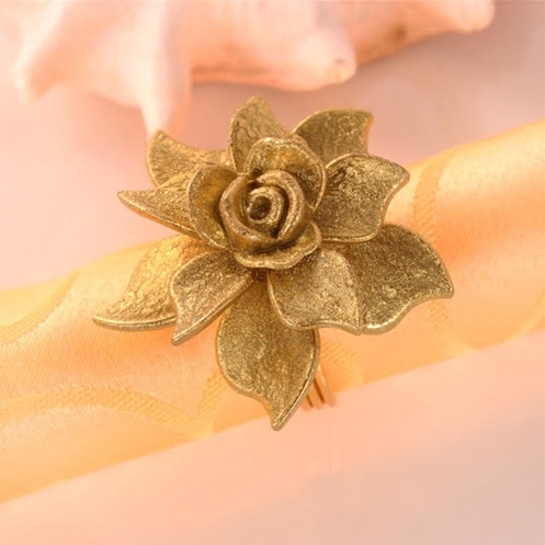 Gold Flower Napkin Rings, Decorative Table Accessories