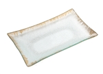 Ice Crystal Glass Tray with Golden Brushstroke Rim