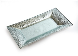 Silver Granite Rim Glass Tray