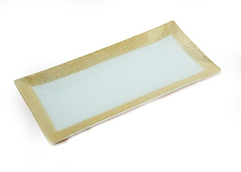 Gold Glitter-Sparkled Rim GlassTray