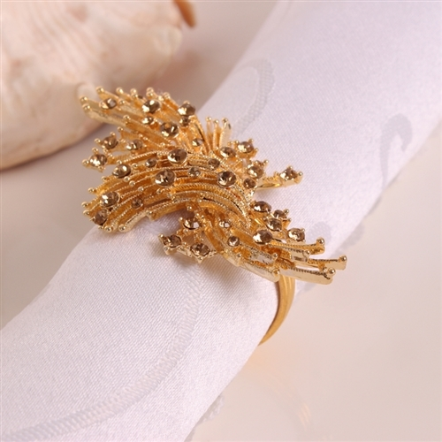 Golden Sprites with Crystals Napkin Ring, Decorative Table Accessories