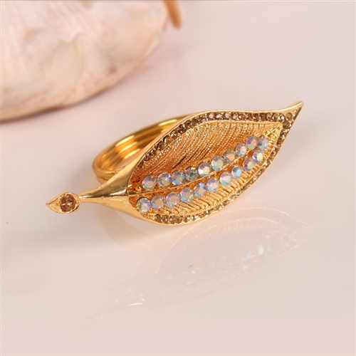 Jeweled Swan Leaf Napkin Ring, Decorative Table Accessories