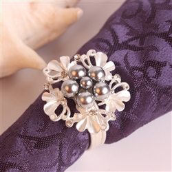 Silver Flower w/ Black Pearls Napkin Ring, Decorative Table Accesories