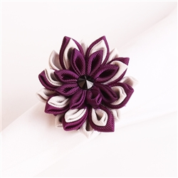 White and Violet Cornflower Napkin Ring, Decorative Table Accesories