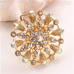 Golden Flower Mandala w/ Crystals Napkin Ring, Decorative Table Accessories