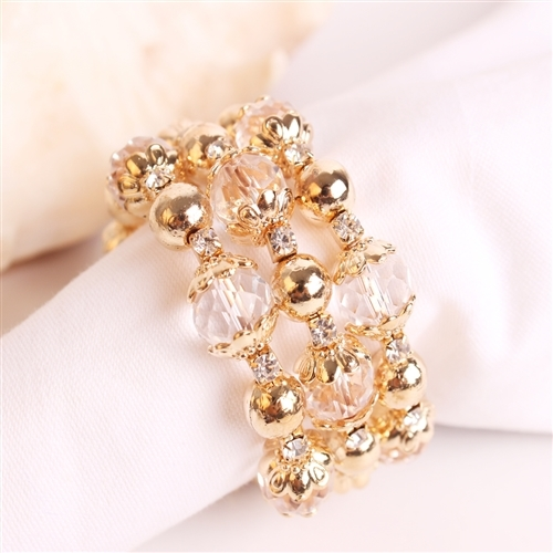 Golden Beaded Bracelet Napkin Ring, Decorative Table Accessories