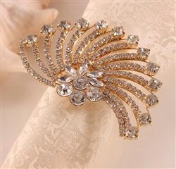 Crystal Flower Flair Gold Napkin Ring - Set of 4