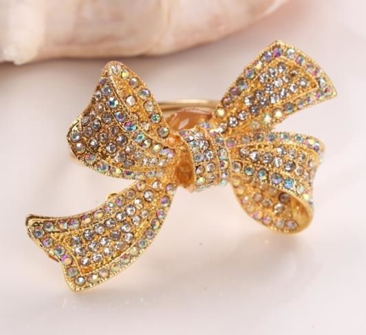 Golden Bow with Crystals Napkin Ring - Set of 4