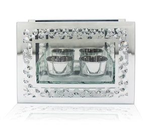 Mirror Tealight Holder: Allure by Jay, Decorative candle holders, cute sparkly table decor, crystal frame tealight holder