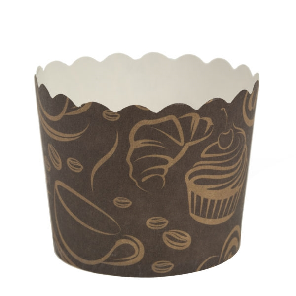 Scalloped Design Brown Baking Cups w/ Coffee Design 16 ct