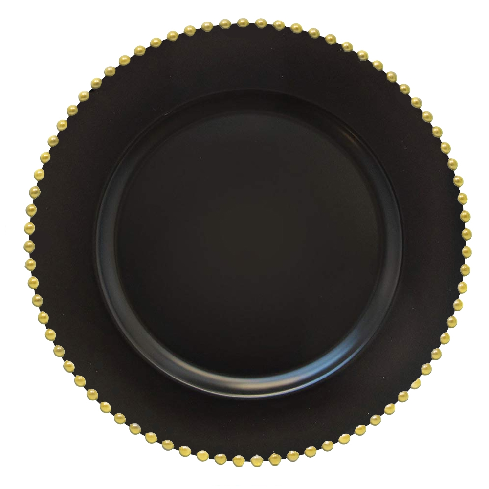 Elle Decor Black Beaded Charger Plate (Set of 4) - Dinner Party Decor