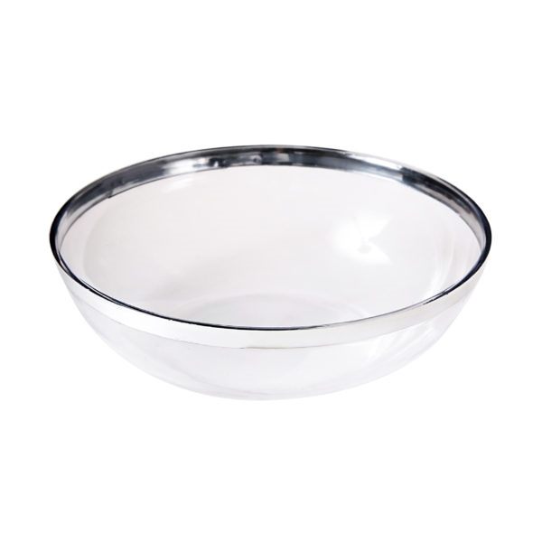 Small Silver Rim Salad Bowl by Simcha Collection - Premium Heavyweight Plastic, fancy disposable bowls