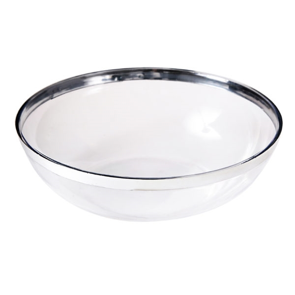 Medium Angled White Serving Bowl- Premium Heavyweight Plastic, fancy disposable bowls