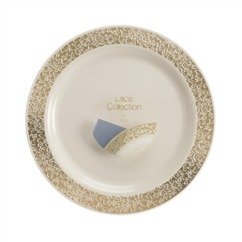 "Lace Ivory and Gold 6"" Bread and Butter 40 Ct"