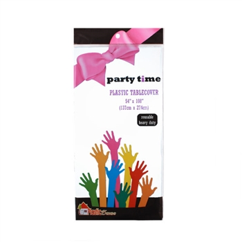 Party Time Plastic Table Cover in White