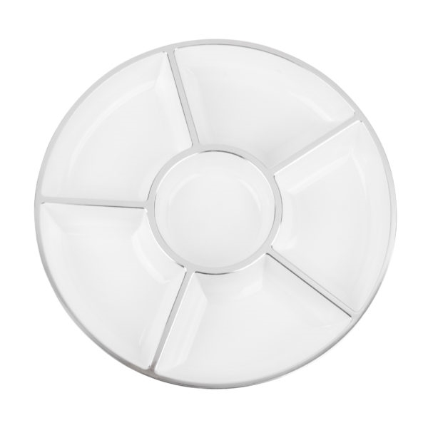 Six Section Round Tray in White w/ Silver Trim