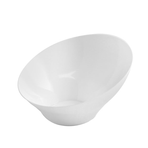 6oz Small Angled White Serving Bowls- 8 per Pack Premium Heavyweight Plastic, fancy disposable bowls
