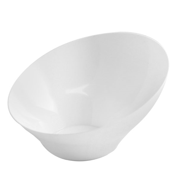 Large Angled White Serving Bowl- Premium Heavyweight Plastic, fancy disposable bowls