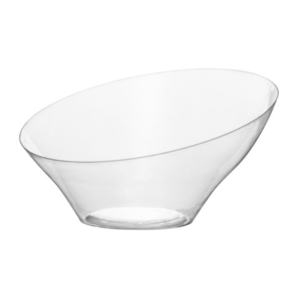 Medium Angled Clear Serving Bowl- Premium Heavyweight Plastic, fancy disposable bowls